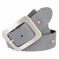 "2522/38 Women's 1-1/2"" Genuine Leather Belt With Flower Decorations (Grey)"