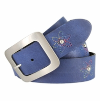 "2522/38 Women's 1-1/2"" Genuine Leather Belt With Flower Decorations (Royal Blue)"