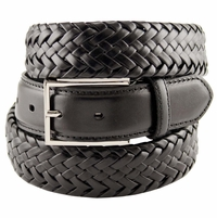 M0208 Comfort Stretch Braided Men's Leather Belt - Black