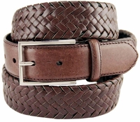 M0208 Comfort Stretch Braided Men's Leather Belt - Brown $29.95