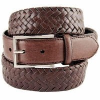 M0208 Comfort Stretch Braided Men's Leather Belt - Brown
