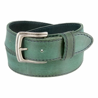 Made In Italy Men's Full Grain Leather Casual Jean Belt - Sea Green