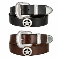 Marshall Star Conchos Western Full Grain Leather Belt