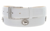 "Masters Italian Calfskin Leather White Golf Belt 1 3/8"" Wide"