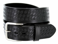 "Men's Basketweave Work Uniform Leather Belt 1-1/2"" Wide - Black"