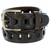 Men's Braided Genuine Leather Casual Jean Belt - Brown