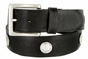 "Men's Coin Conchos Genuine Leather Casual Jean Belt 1-1/2"" Wide"