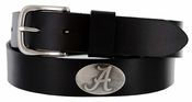 Men's Collegiate University Leather Overlay Concho Black Belt - Alabama