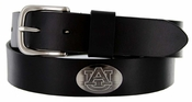 Men's Collegiate University Leather Overlay Concho Black Belt - Auburn