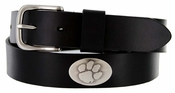 Men's Collegiate University Leather Overlay Concho Black Belt - Clemson