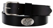 Men's Collegiate University Leather Overlay Concho Black Belt - Kansas