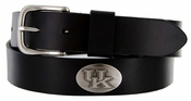 Men's Collegiate University Leather Overlay Concho Black Belt - Kentucky