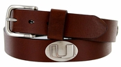 Men's Collegiate University Leather Overlay Concho Brown Belt - Miami