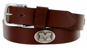 Men's Collegiate University Leather Overlay Concho Brown Belt - Michigan