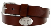 Men's Collegiate University Leather Overlay Concho Brown Belt - Tennessee