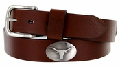 3639500 Men's Collegiate University Leather Overlay Concho Brown Belt - University of Texas