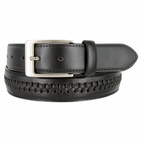"Men's Crossweaved Genuine Leather woven laced Dress Casual Belt 1-3/8"" (35mm) wide - Black"