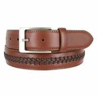 "Men's Crossweaved Genuine Leather Dress Casual Belt 1-3/8"" (35mm) wide - Tan"