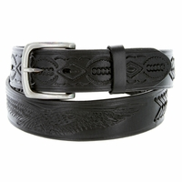 Men's Eagle Embossed Braided Genuine Leather Casual Jean Belt - Black