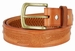 Men's Eagle Embossed Braided Genuine Leather Casual Jean Belt - Tan2