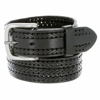 Men's Fine Triple Braided Genuine Leather Casual Jean Belt - Black