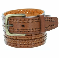 Men's Fine Triple Braided Genuine Leather Casual Jean Belt - Tan