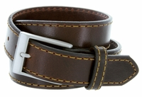 "Men's Full Leather Casual Jean Belt 1-3/8"" (35mm) Wide Made in USA"
