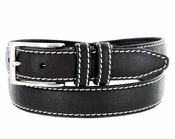 "Men's Genuine Bison Leather Dress Belt-Black 1-1/8"" wide *Made in USA*"