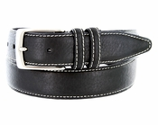 "Men's Genuine Bison Leather Dress Belt-Black 1-3/8"" wide *Made in USA*"