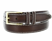 "Men's Genuine Bison Leather Dress Belt-Brown 1-1/8"" wide *Made in USA*"