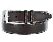 "Men's Genuine Bison Leather Dress Belt-Brown 1-3/8"" wide"