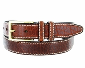 "Men's Genuine Bison Leather Dress Belt-Tan 1-1/8"" wide"