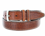 "Men's Genuine Bison Leather Dress Belt-Tan 1-3/8"" wide"