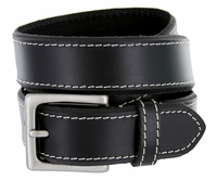 "Men's Genuine Leather Casual Jean Belt 1-3/8"" Wide - Black $17.95"