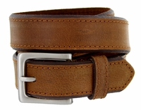 "Men's Genuine Leather Casual Jean Belt 1-3/8"" Wide - Brown $17.95"