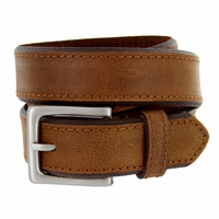"Deal of Today $10.00 Men's Genuine Leather Dress Belt 1-3/8"" Wide - Brown"