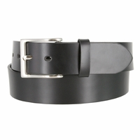 "Men's Genuine Leather Dress Casual Belt 1-1/2"" (38mm) wide with Nickel Plated Buckle - Black"
