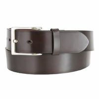"Men's Genuine Leather Dress Casual Belt 1-1/2"" (38mm) wide with Nickel Plated Buckle - Brown"