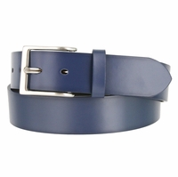 "Men's Genuine Leather Dress Casual Belt 1-1/2"" (38mm) wide with Nickel Plated Buckle - Navy"