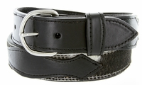 Men's Hair On Genuine Leather Casual Jean Belt - Black