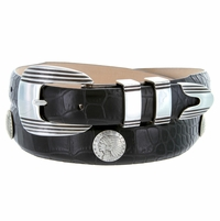 Men's Indian Head Coin Conchos Italian Calfskin Leather Belt