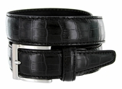 "9536-35 Men's Italian Alligator Embossed Calfskin Leather Dress Belt 1-3/8"" Wide - Black"