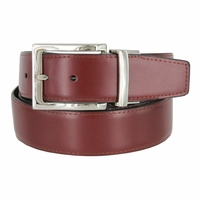 "Men's Reversible Genuine Leather Dress Casual Belt 1-3/8"" (35mm) wide - Black/Burgundy"