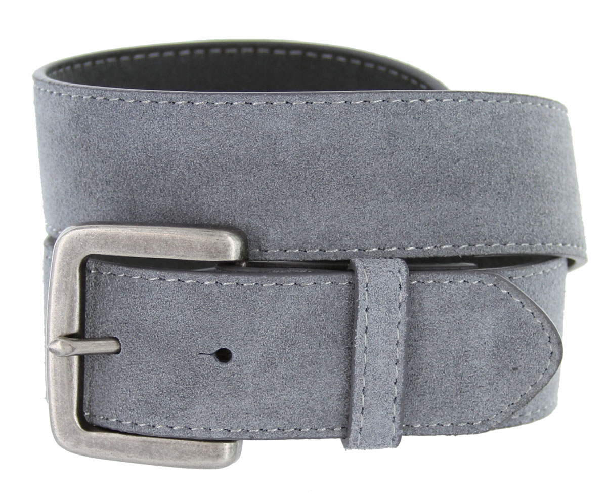 suede leather casual jean belts 1 1 2 quot gray