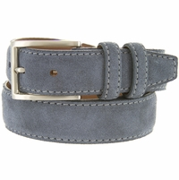 "Men's Suede Leather Dress Belt 1-3/8"" Wide - Blue"
