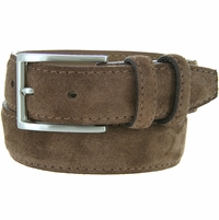 Men's Suede Leather Dress Belt - Brown