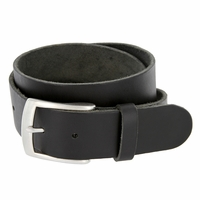 "Men's Vintage Soft One Piece Full Grain Leather Casual Jean Belt 1-1/2"" wide Black"