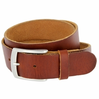 "Men's Vintage Soft One Piece Full Grain Leather Casual Jean Belt 1-1/2"" wide Tan"