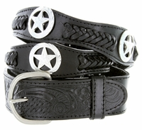 Men's Western Star Conchos Genuine Leather Braided Belt - Black