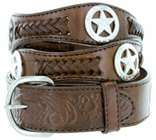 Men's Western Star Conchos Genuine Leather Braided Belt - Brown